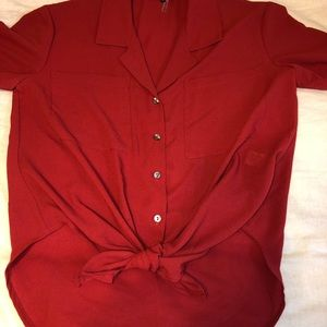 1. State Red short sleeve button down top
